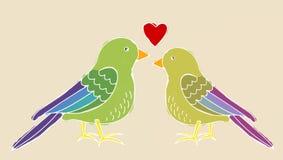 Ami l'uccello, illustrazione di piccoli uccelli variopinti Immagini Stock Libere da Diritti