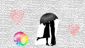 Ami le coppie nella pioggia, l'illustrazione di vettore, concetto di amore illustrazione di stock