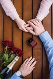 Ami proposant l'amie et tenant sa main Images libres de droits