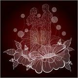 Ami su un bello fondo dei fiori bianchi Fotografie Stock Libere da Diritti