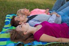 Ami trois détendant sur la couverture colorée en parc Image stock