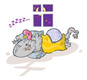 Amiable sleeping Monster. Cartoon drawing of Amiable sleeping Monster stock illustration