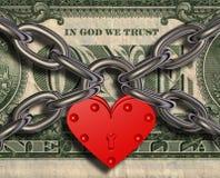 Amiamo i soldi - serratura e soldi del cuore Immagine Stock