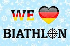 Amiamo il manifesto di vettore di biathlon Bandiera nazionale della Germania Simbolo del cuore nei colori tedeschi tradizionali B illustrazione di stock