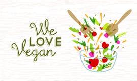 Amiamo la progettazione dell'alimento del vegano con insalata di verdure Fotografia Stock Libera da Diritti