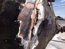 Amiante endommagé sur le navire Images libres de droits