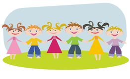 Amicable children. Children stand on a clearing keeping for hands, an illustration vector illustration