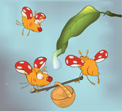 Ladybirds and dew. Cartoon. Amicable ladybirds collecting dew in a basket Stock Photo