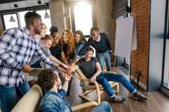Amicable relationship among teenagers. Concept of friendly business group stock image