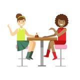 Amiche che chiacchierano dividendo un dolce, Person Having sorridente un dessert nell'illustrazione dolce di vettore del caffè de Fotografia Stock