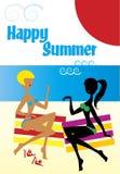Amiche sulla spiaggia di estate Immagini Stock