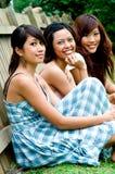 Amici all'esterno Fotografia Stock