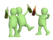Amici allegri con le bottiglie di birra Fotografia Stock