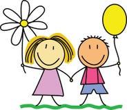 Amici/amicizia - bambini che disegnano /illustration Immagini Stock