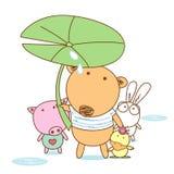 Amici animali con un ombrello della foglia Immagini Stock Libere da Diritti