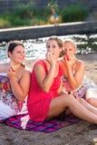 Amici che bevono birra alla spiaggia del fiume Immagini Stock