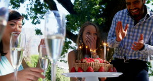 Amici che celebrano il compleanno della donna al ristorante all'aperto stock footage