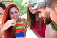 Amici che giocano il gioco del blocco Immagine Stock