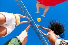 Amici che giocano pallavolo della spiaggia Fotografia Stock Libera da Diritti