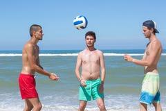 Amici che giocano pallavolo della spiaggia sulla spiaggia Fotografia Stock
