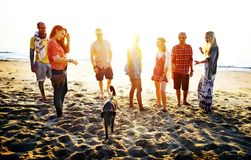 Amici che hanno divertimento alla spiaggia fotografie stock libere da diritti