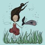 Amici con il pesce illustrazione di stock