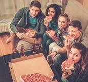 Amici con pizza e le bottiglie delle bevande Immagini Stock