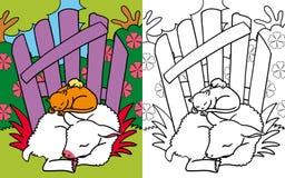 Amici del libro di coloritura piccoli addormentati Illustrazione di Stock