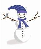 Amici del tempo freddo, il pupazzo di neve e la ghiandaia azzurra americana Immagine Stock Libera da Diritti
