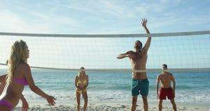 amici della spiaggia che giocano pallavolo video d archivio
