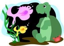 Amici della tartaruga, dei pesci e del granchio Fotografie Stock
