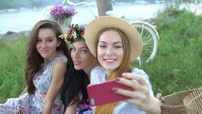 Amici di ragazze che fanno i fronti divertenti e che sorridono per il selfie, godendo del picnic archivi video