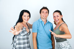 Amici di risata felici Immagini Stock Libere da Diritti