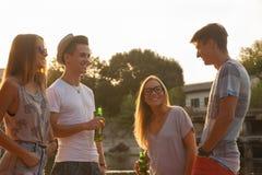 Amici divertendosi vicino al lago Fotografie Stock