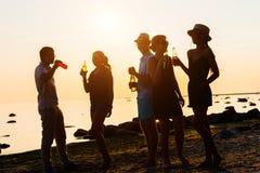 Amici felici che bevono le bevande e che hanno un partito Fotografie Stock Libere da Diritti