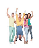 Amici felici che celebrano la vittoria Immagini Stock