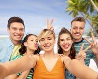 Amici felici che prendono selfie e che mostrano pace immagini stock libere da diritti
