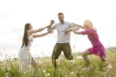 Amici felici che spendono insieme tempo libero nella a Fotografie Stock
