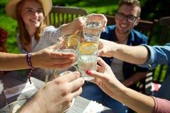 Amici felici con le bevande al ricevimento all'aperto di estate Immagine Stock