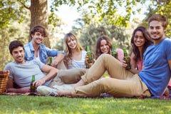 Amici felici nel parco che ha picnic immagini stock