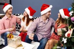 Amici felici, nuovo anno Fotografia Stock