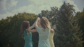 Amici femminili allegri che ballano nel cerchio all'aperto archivi video