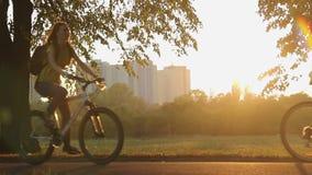 Amici femminili che guidano le biciclette nel parco di estate, divertendosi sul fine settimana insieme video d archivio