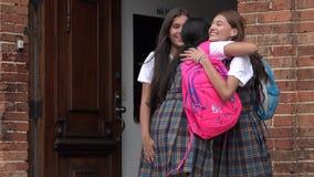 Amici femminili felici che accolgono e che abbracciano Immagine Stock Libera da Diritti