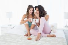 Amici femminili rilassati con le tazze di caffè che pettegolano a letto Fotografie Stock Libere da Diritti