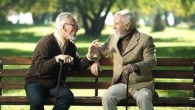 Amici grigi che spendono tempo sul banco in parco che respira aria fresca e conversazione immagini stock