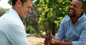 Amici maschii che tostano le bottiglie di birra in ristorante all'aperto 4k stock footage