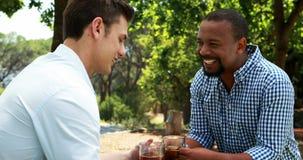 Amici maschii che tostano le tazze di birra in ristorante all'aperto 4k video d archivio