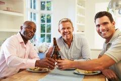 Amici maschii maturi Sit At Table Drinking Beer e mangiare immagini stock libere da diritti