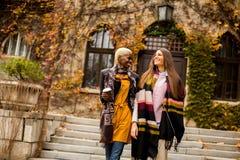 Amici multietnici abbastanza giovani che camminano il giorno di autunno Fotografia Stock